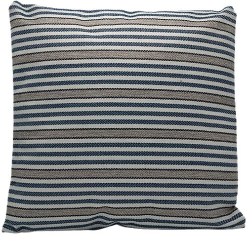 Kussen Streep Blauw/Wit/Taupe 45x45cm