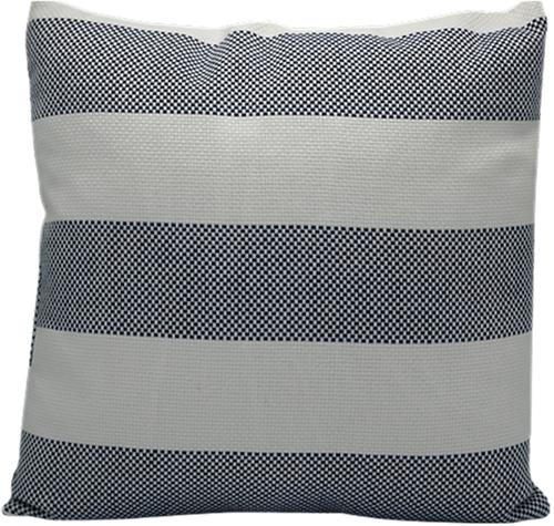 Kussen Streep Wit/Blauw 45x45cm