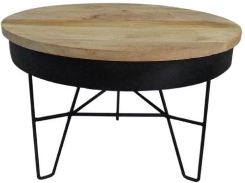 Iron Table Wood Top L - Mud Black