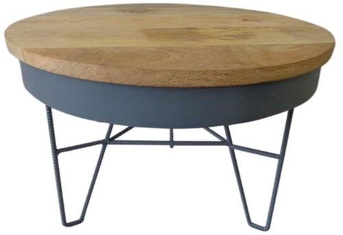 Iron Table Wood Top L - Dark Grey
