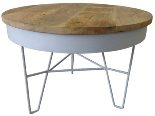 Iron Table Wood Top L - Mud White
