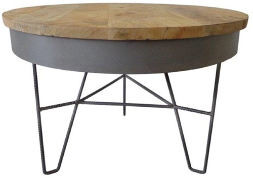 Iron Table Wood Top L - Natural Iron Rustic